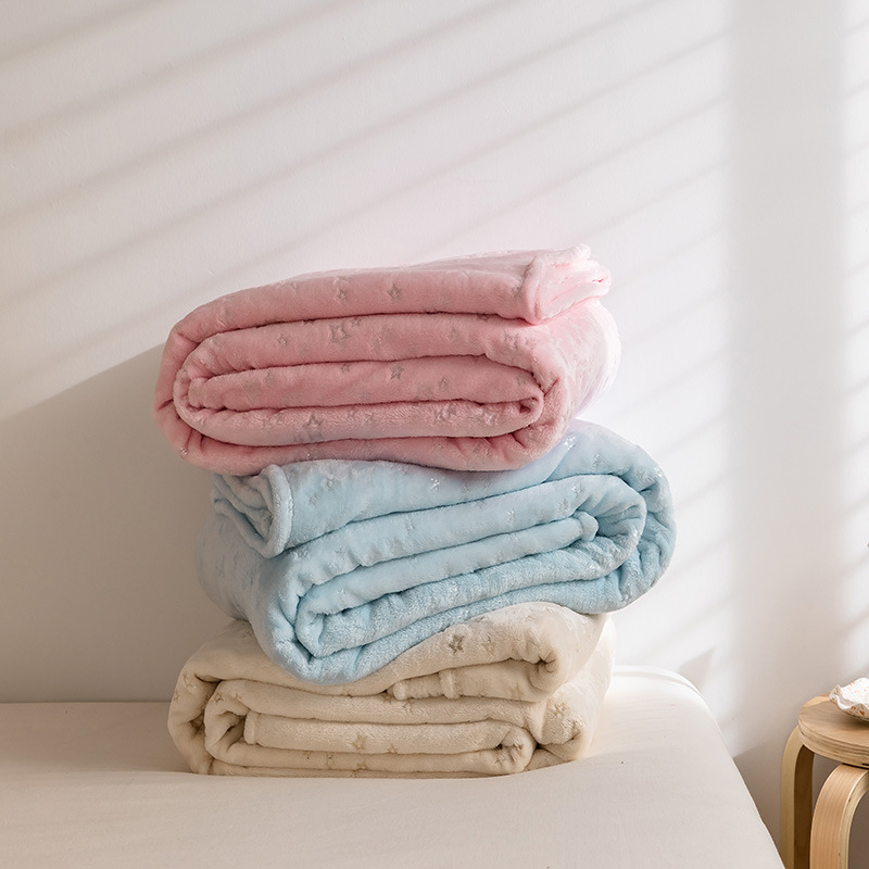 Warm and Smooth Flannel Blanket with Cute Embossed Design for Household Use