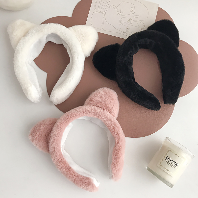 Snugly Plush Cat Ears Headband for Removing Make-up