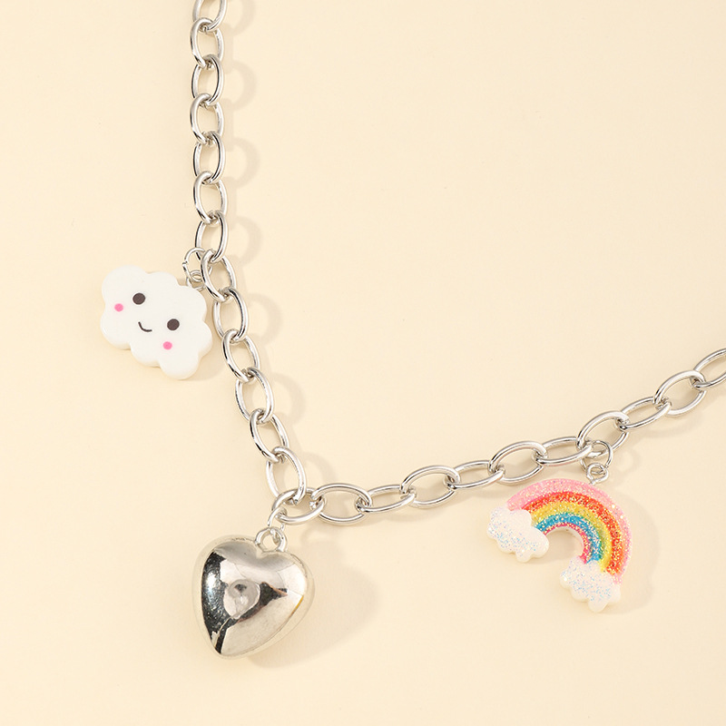 Cute Clouds Rainbow Heart Pendant for Fashion