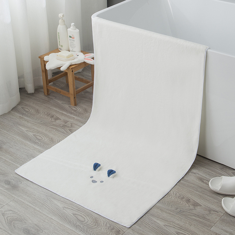 Minimalist Cartoon Thick Towel for Shower Use