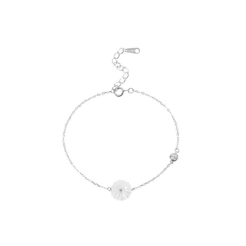 White Daisy and Round Crystal Charm Bracelet