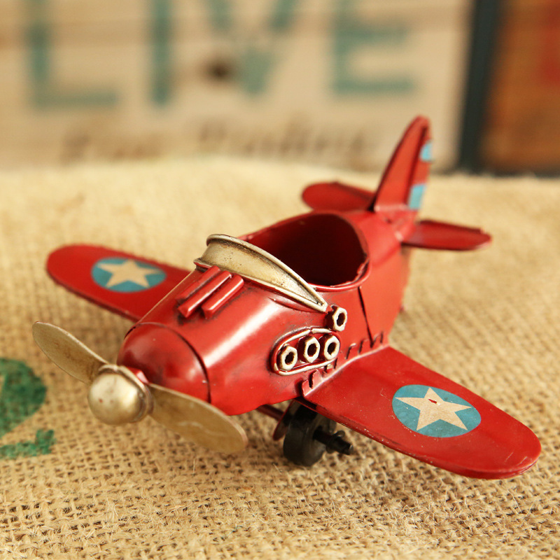 Miniature Tin Airplane Toy for Flight Enthusiasts and Collectors