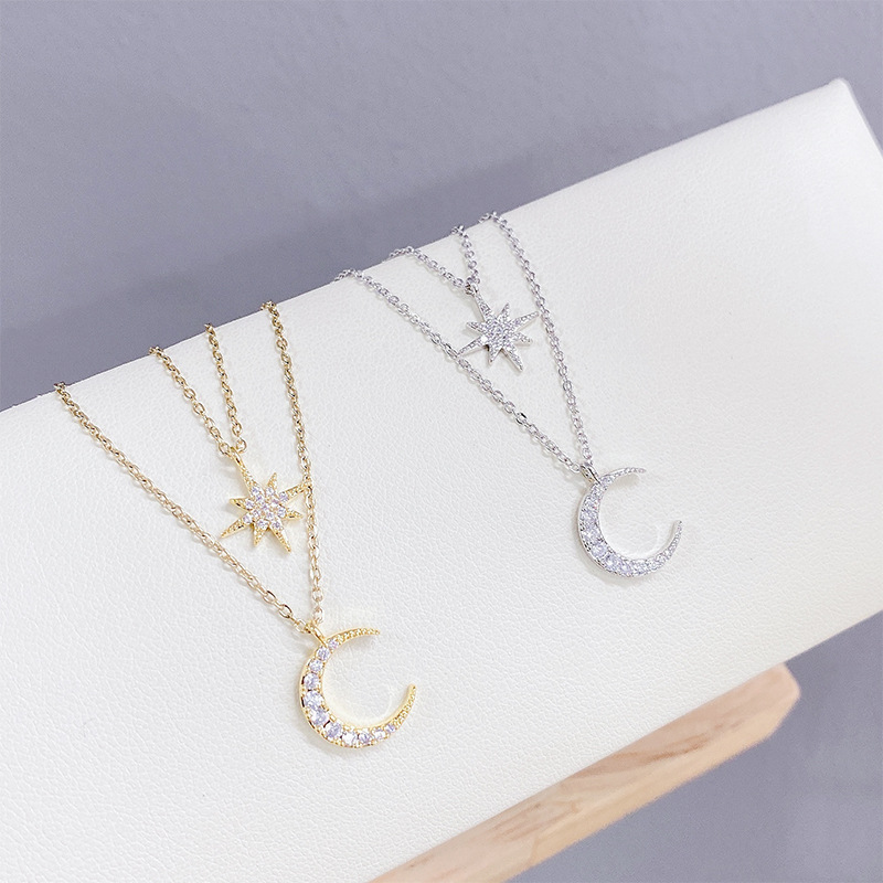 Kanna Sparkling Moon and Star Two-Layer Necklace