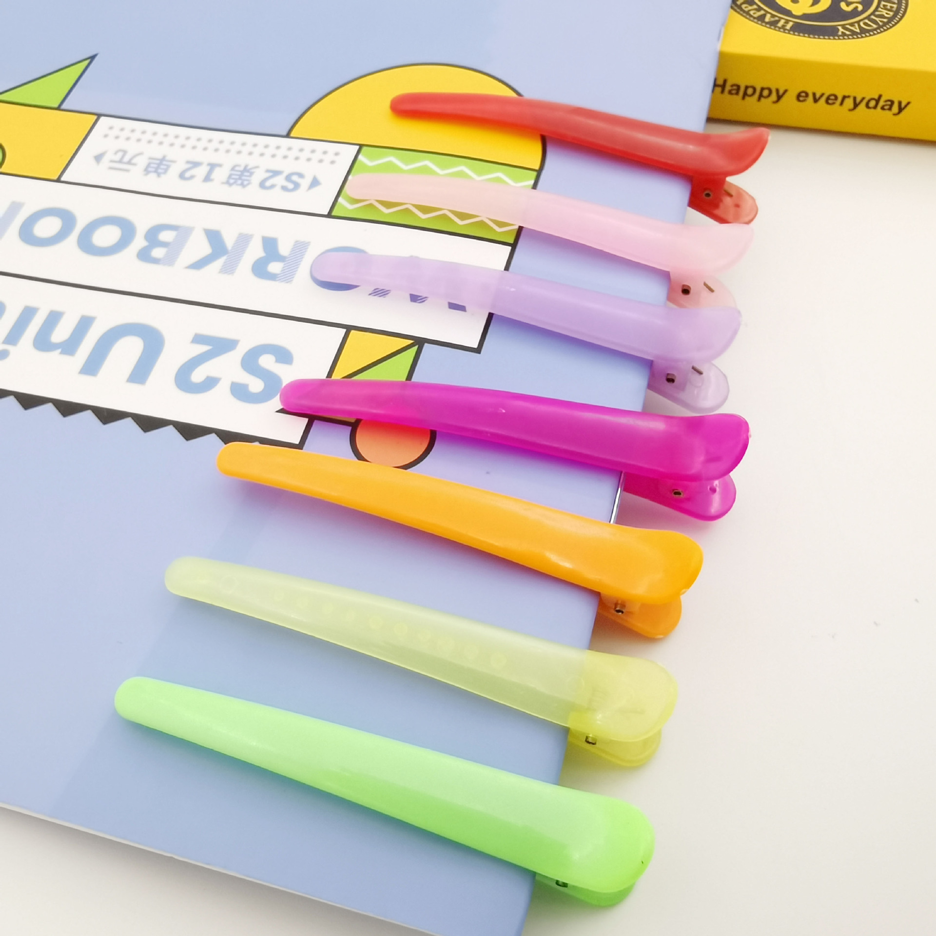 Candy-Colored Plastic Hair Clips for Students Cute Hairstyles
