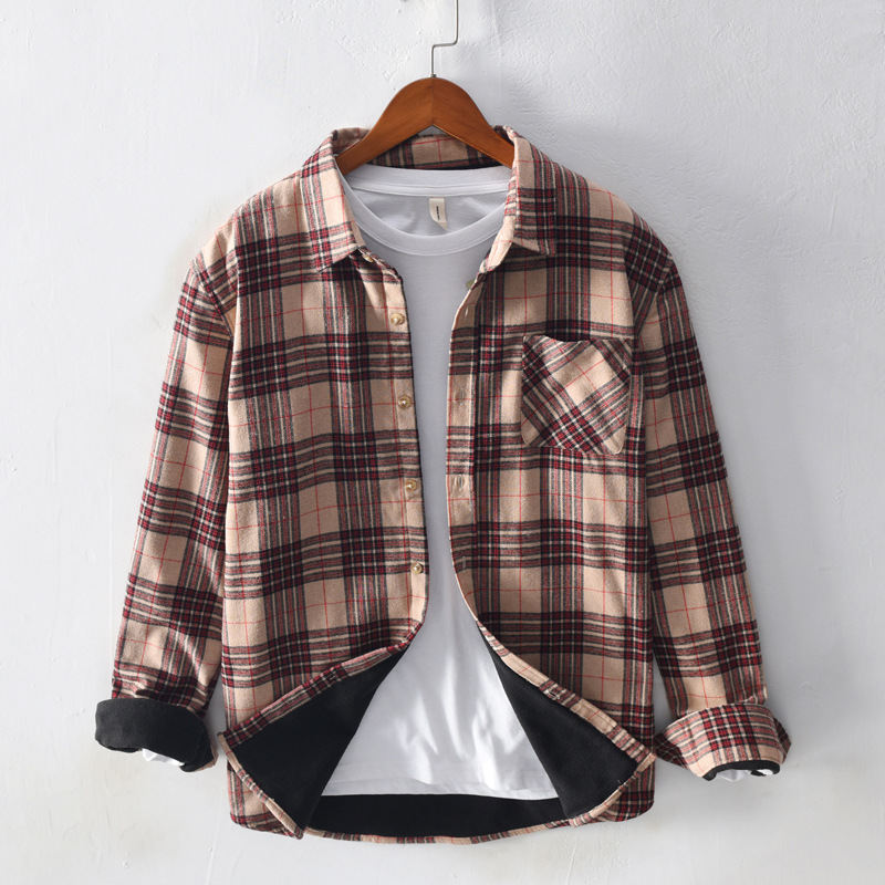 Stylish Plaid Cotton Button-Up Shirt Jacket for Casual Wear