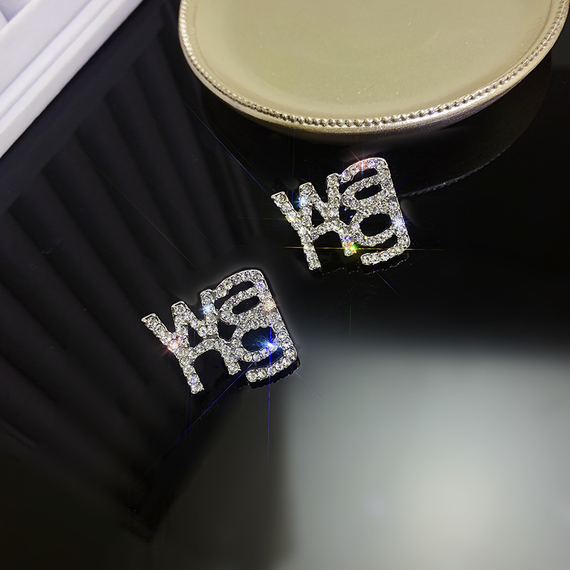 """Sparkling """"WANG"""" Rhinestone Earrings and Brooch for Decorating Yourself"""