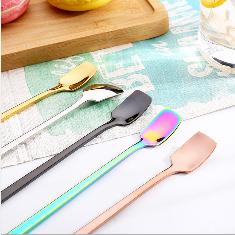 Colorful Stainless Long Handle Stirring Spoon for Iced Coffee