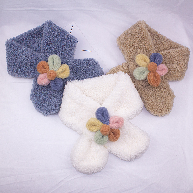 Colorful Flower Curly Polyester Stole Scarf for Cute Girls