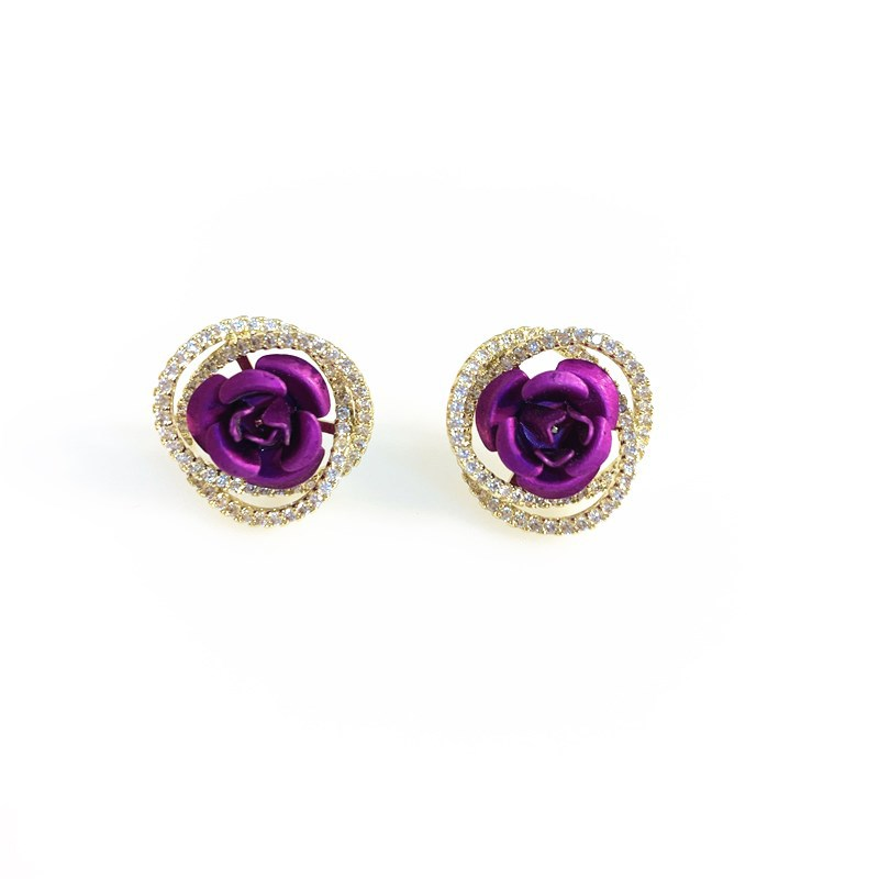 Lovely Faux Diamond Earrings with Roses for Fancy Dates