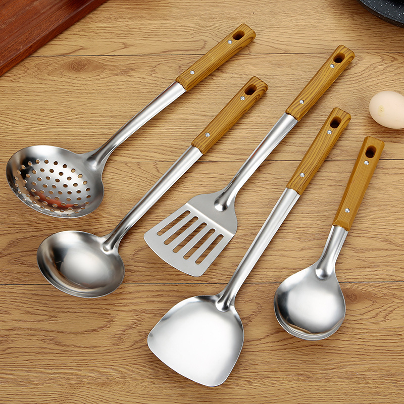 Stainless Steel with Wood Grain Handle for Home Cooked Meals