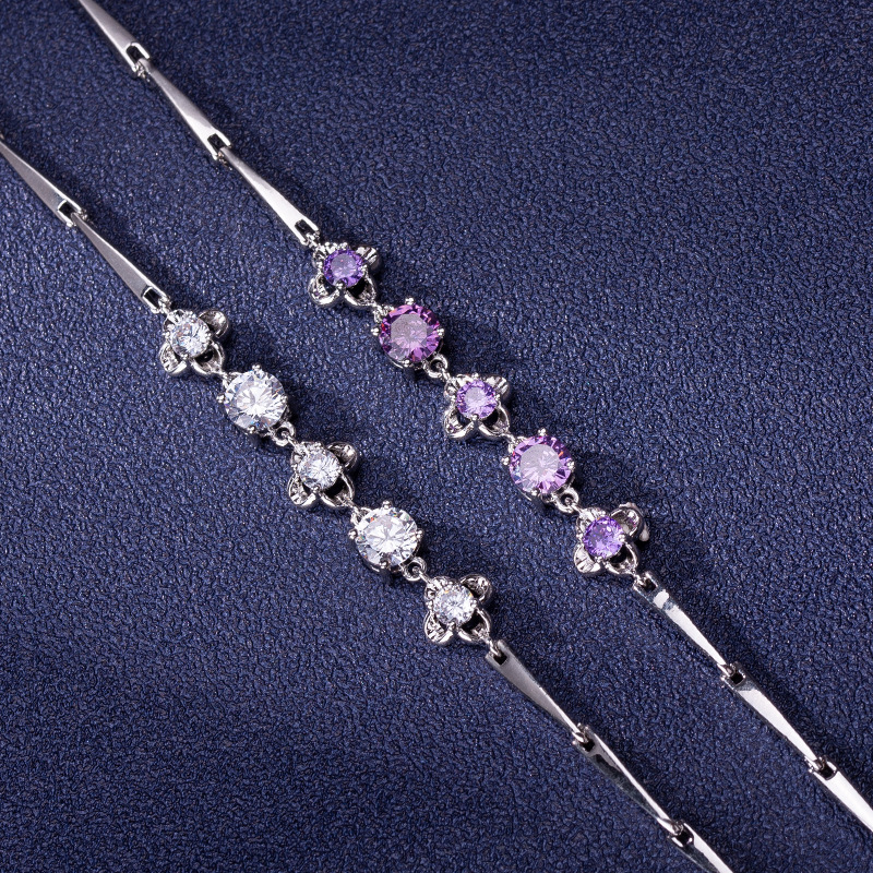 White and Purple Crystal Clover Bracelet