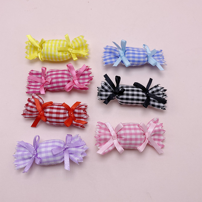 Hand-stitched Gingham Plaid Candy Hairpin