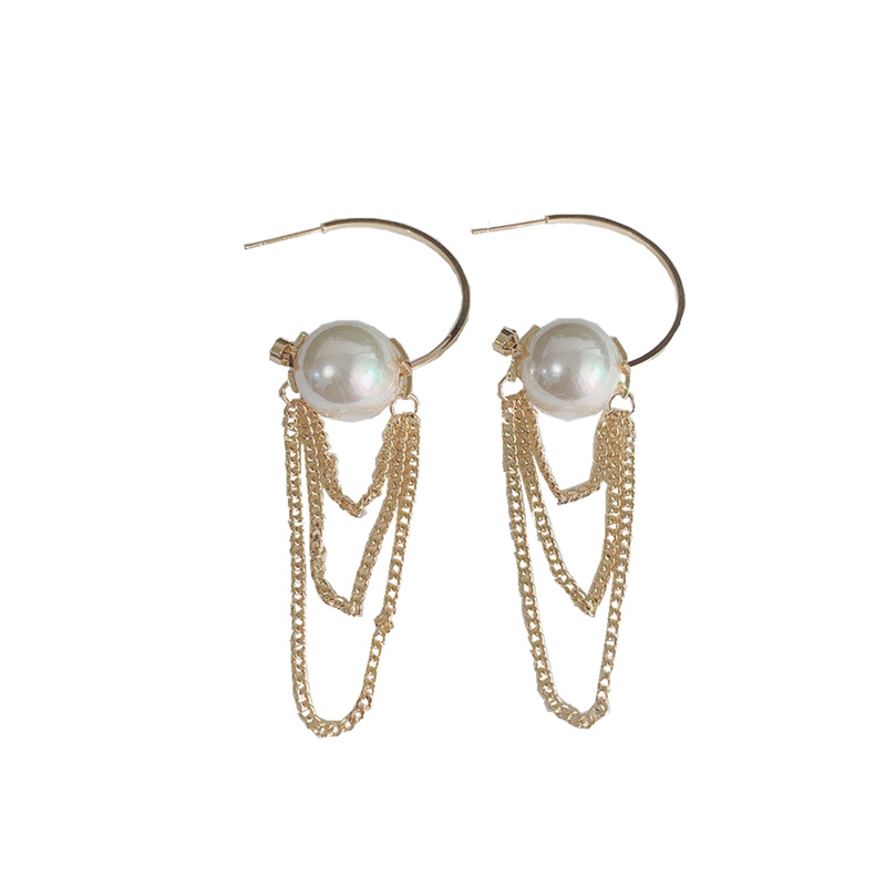 Formosa Faux Pearl and Chain Earrings