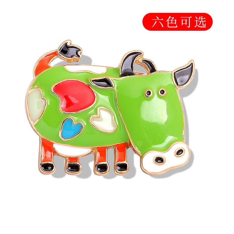 Colorful Adorable Cow Brooch for Bag Accessories