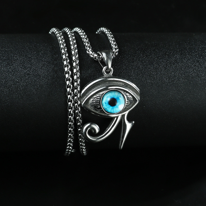 Blue Eye of Horus Pendant Box Chain Necklace for Trendy Style