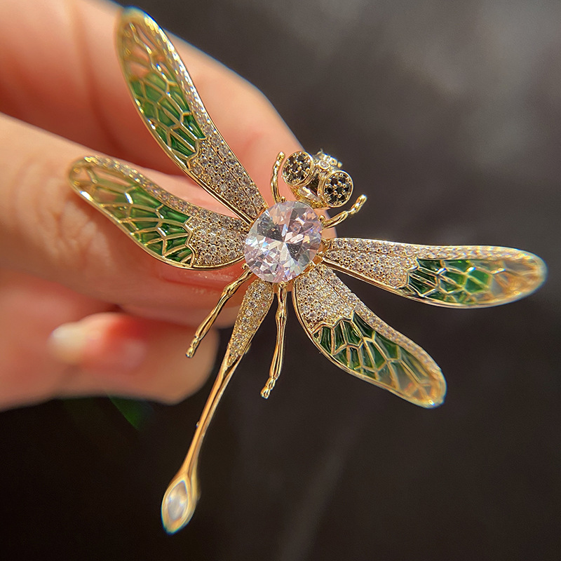 Gold-Plated Copper Dragonfly with Faux Diamond Brooch for Women