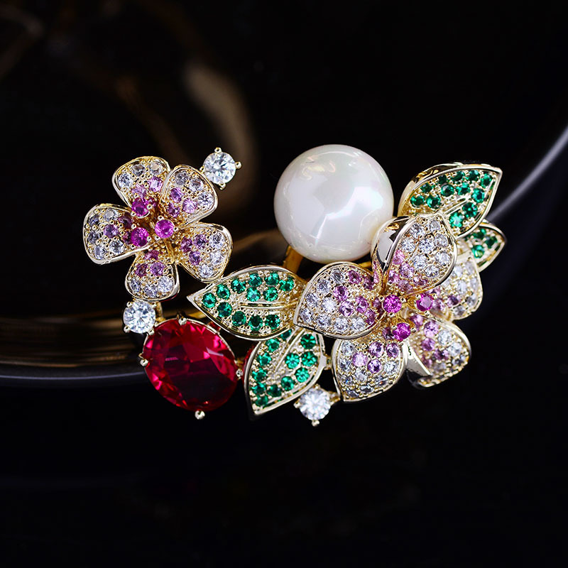 Faux Gemstones and Pearl Brooch for Fancy Events