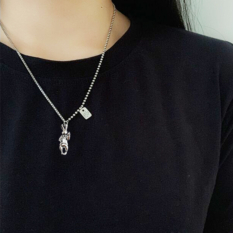 Silver Anthropomorphic Rabbit Necklace for Jokesters