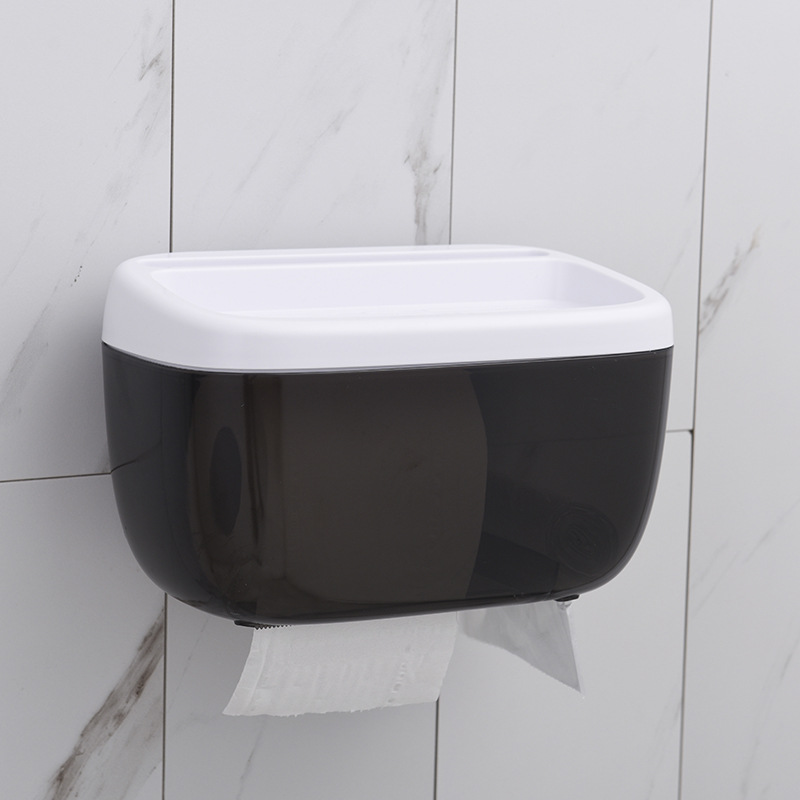 Waterproof  Wall Suction Toilet Paper box and Phone Stand  for Bathroom