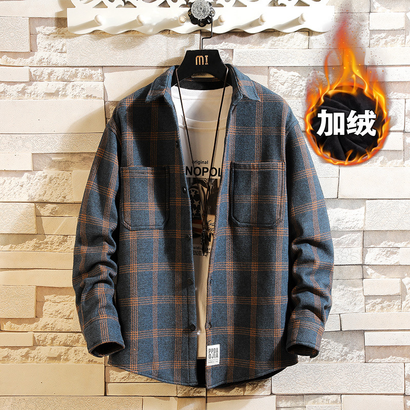 Comfy Cotton Window Pane Plaid Pattern Long Sleeves Button-Up for Winter Fashion