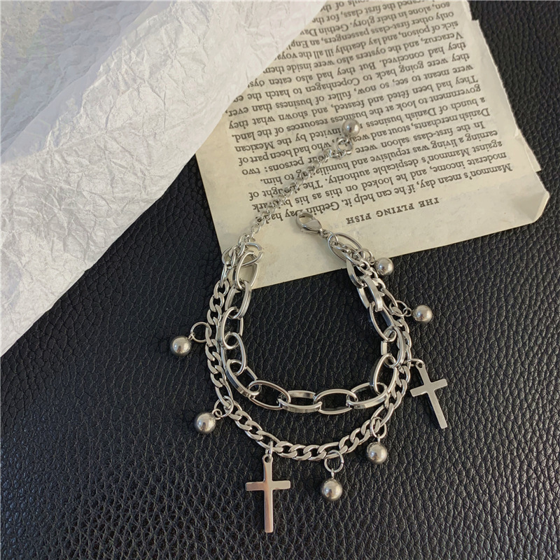 Cross and Round Beads Double Layer Chain Bracelet
