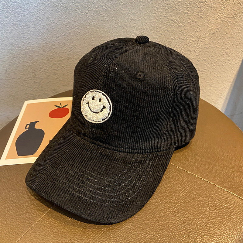 Fuzzy Smile on Corduroy Cap for Outfits During Hangouts