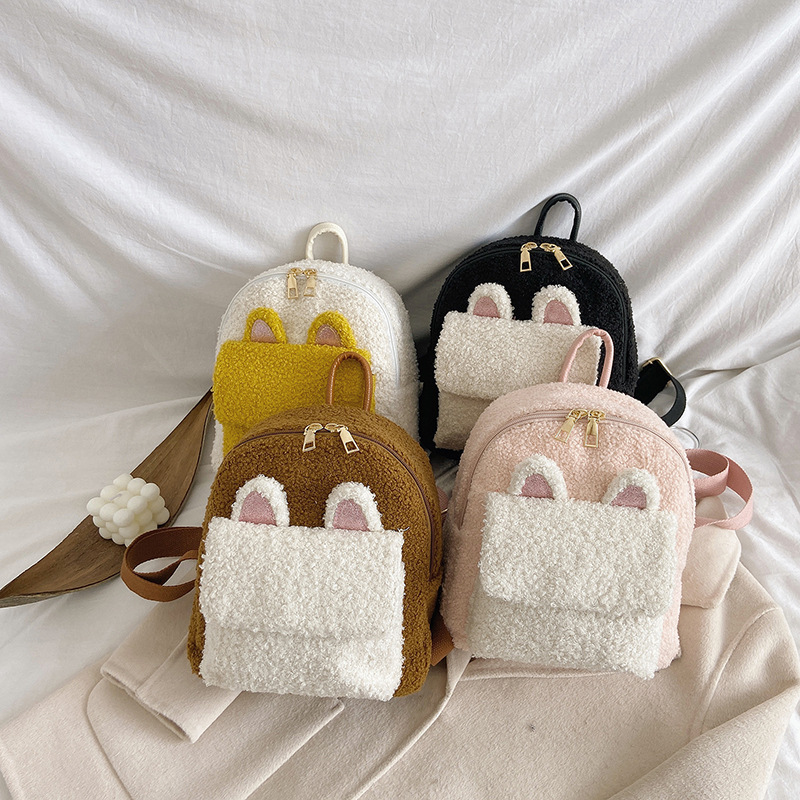 Adorable Kitty Faux Fur Back Pack for Teens