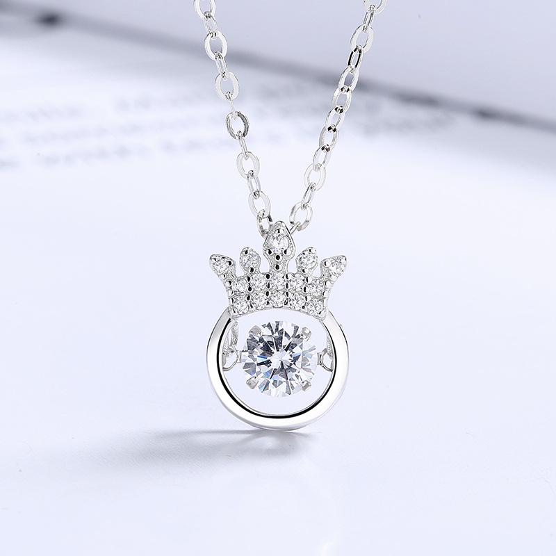 Crowned Round Faux Zircon Necklace