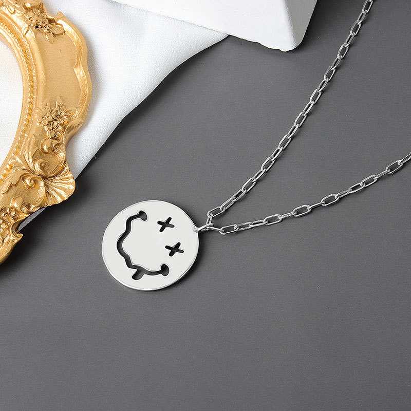 Funky Silver Plated Cable Chain Necklace with Smiley Pendant for Adding Fun to Casual Wear