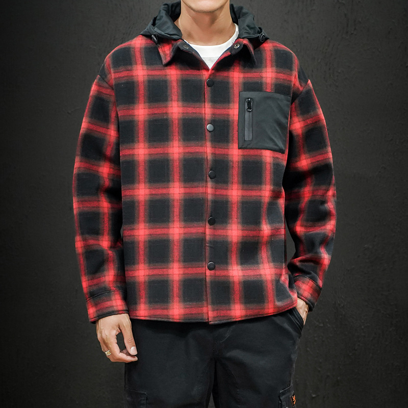 New Plaid Buttoned Jacket with Hood for Cold Weather