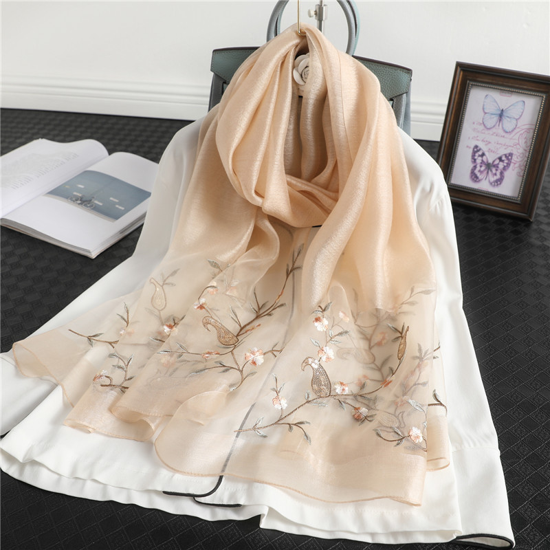 Graceful Looking High-End Embroidered Scarf for Women's Conservative Looking Scarves