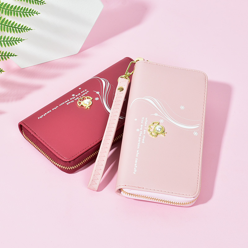 Glamorous Long Wallet with Wristlet for Ladies
