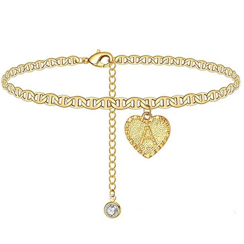 Alphabet Heart Pendant Chain Anklet for Casual Wear