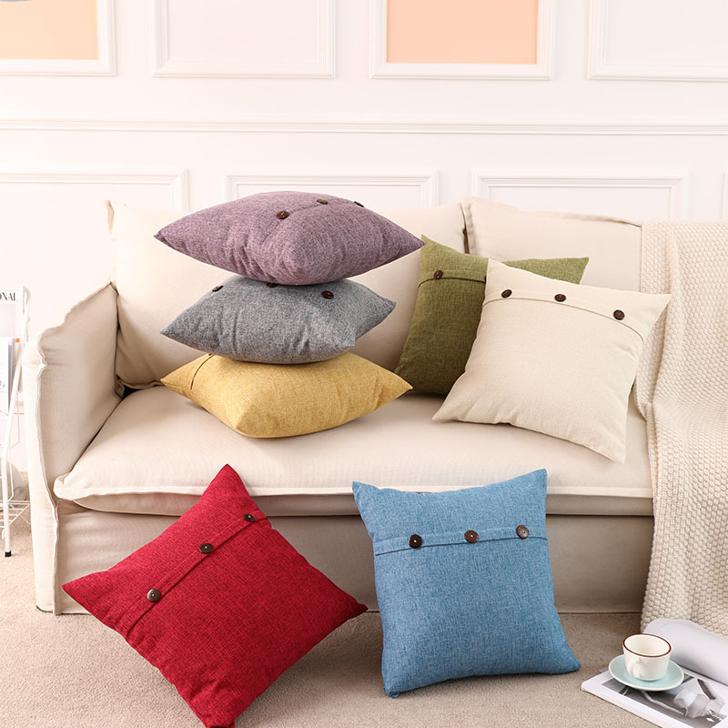 Wooden Button Polyester Pillow Case