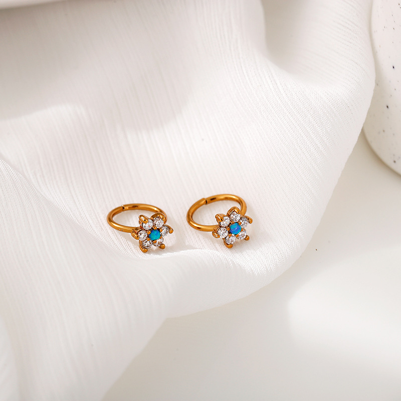 White and Blue Crystals Flower Nose Ring