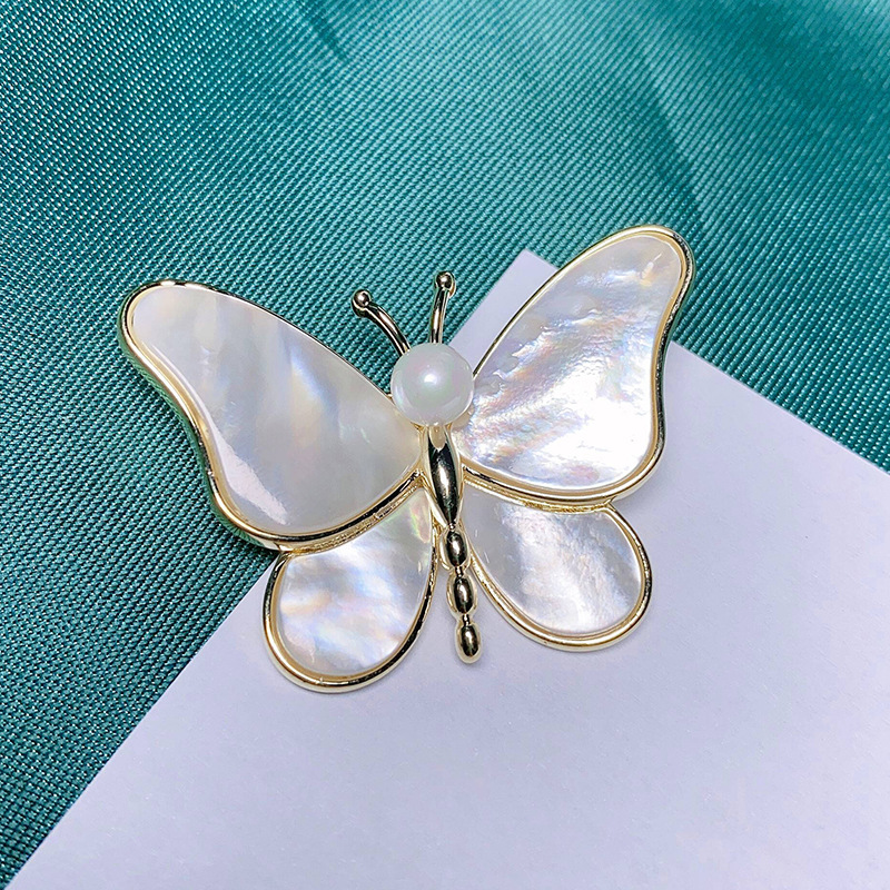 Alluring Shell Butterfly Pin for Cardigan