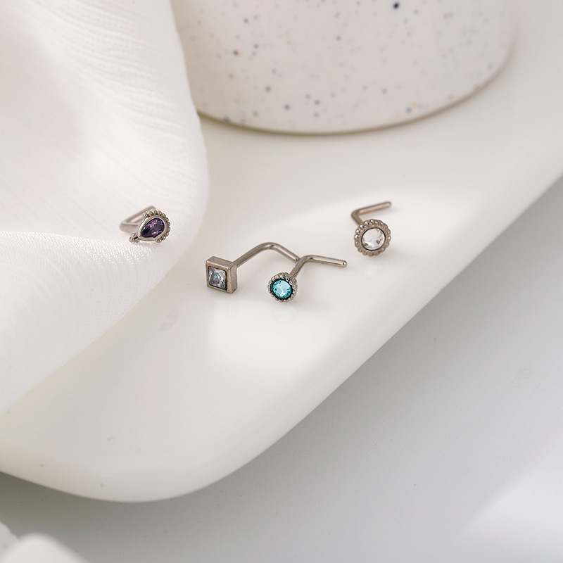 Shiny Colored Faux Gems Nose Studs for Decorating Your Pierced Nose