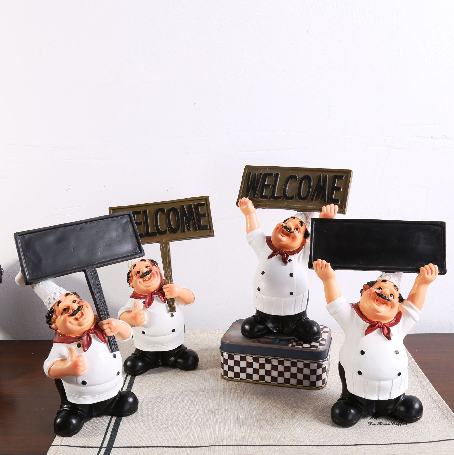 Cartoon Chef Figurine with Welcome Sign for Cafeterias and Restaurant