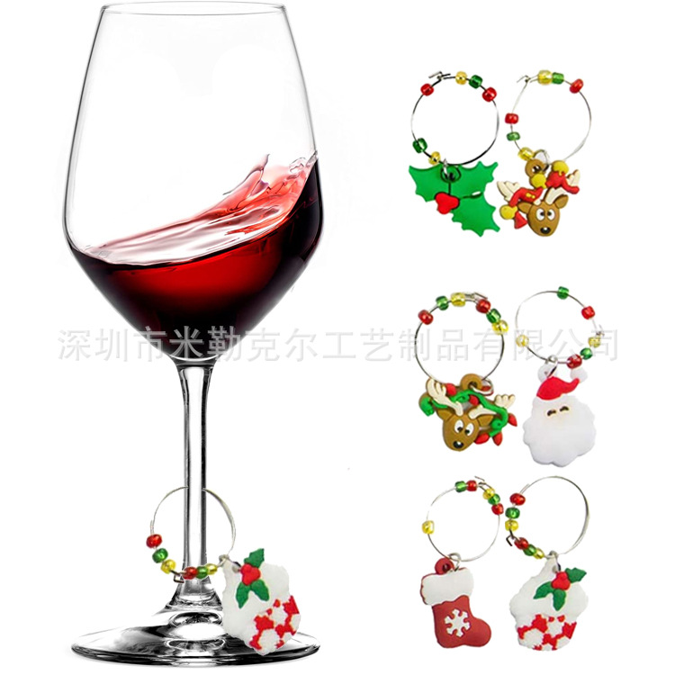 Artful Christmas Series Pendant for Champagne Glass Ornaments