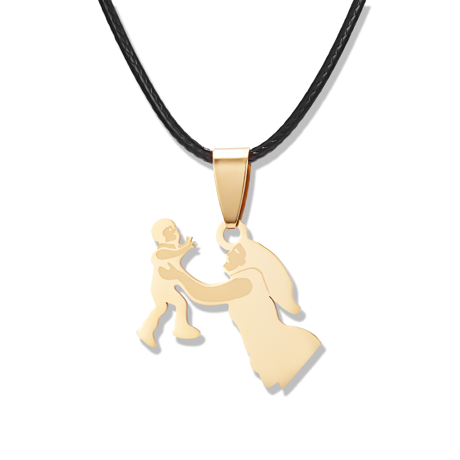 Stainless Steel Mother and Child Love Necklace with Black Leather Rope for Mother's Gift