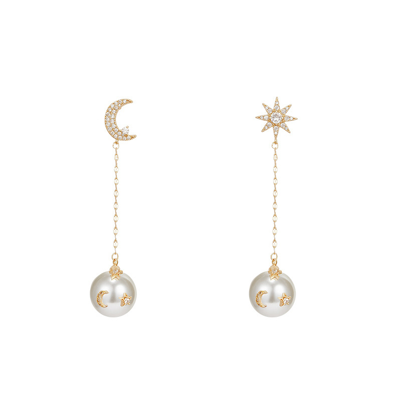 Beautiful Moon and Star Ear Threads for Fashion Earrings
