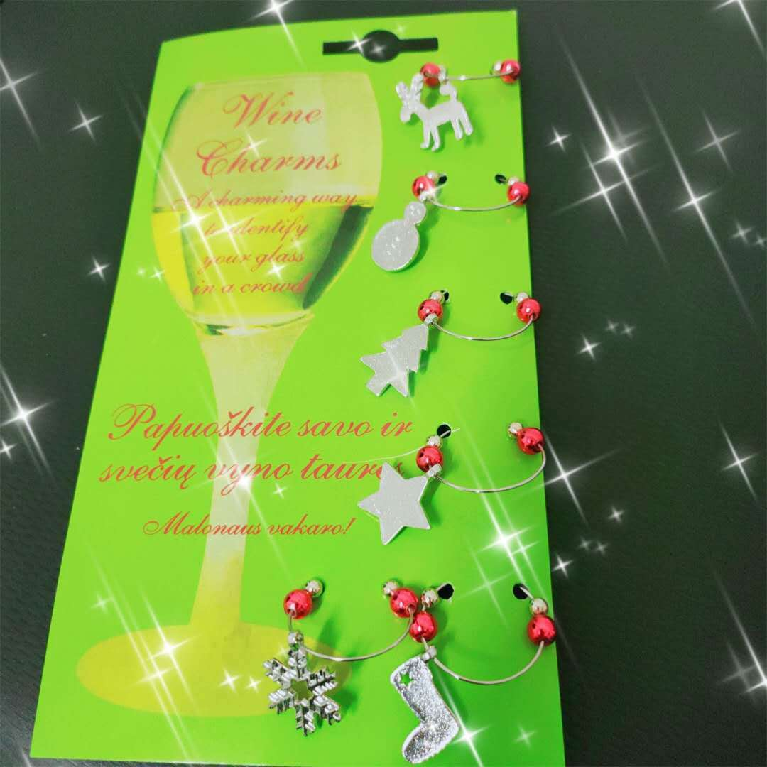 Sparkling Holiday Series Pendant for White Wine Glass Ornaments