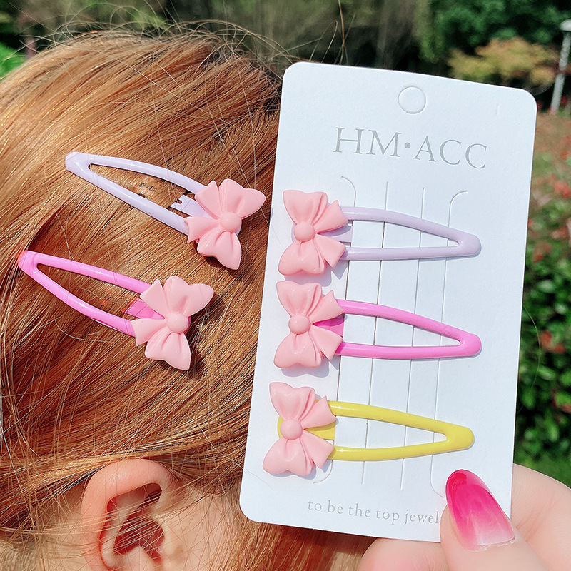 Pink Bow Snap Hair Clip for Chic Attire (3 Pieces/Set)