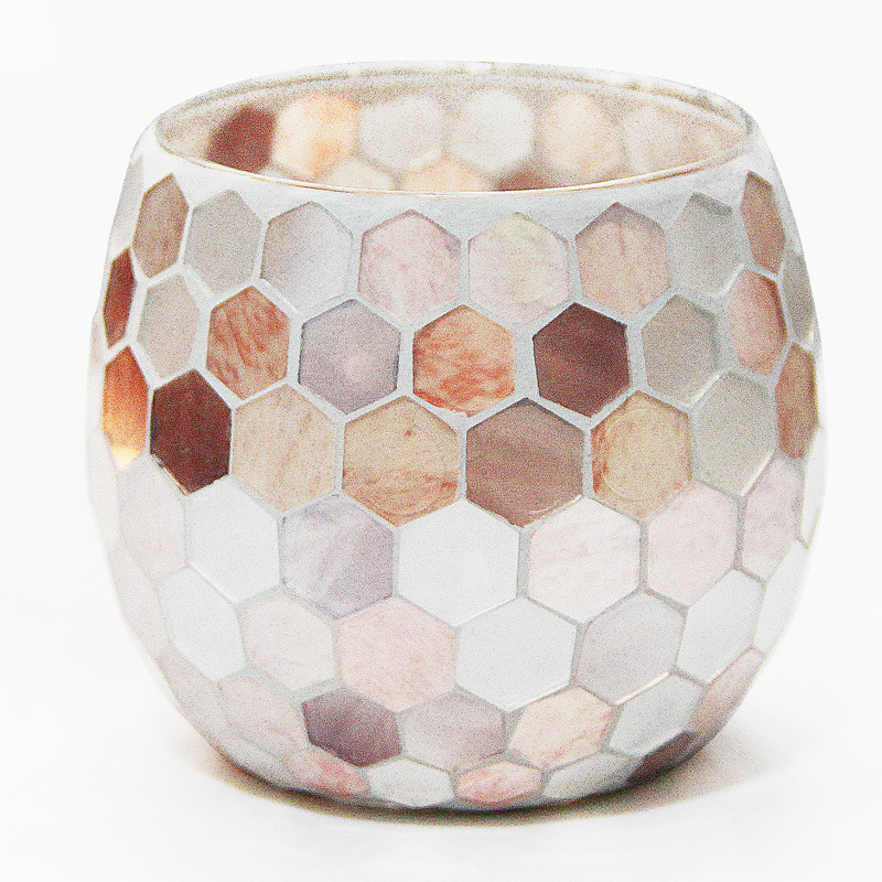 Warm-Toned Glass Pattern Candle Holder for Tealight Candles