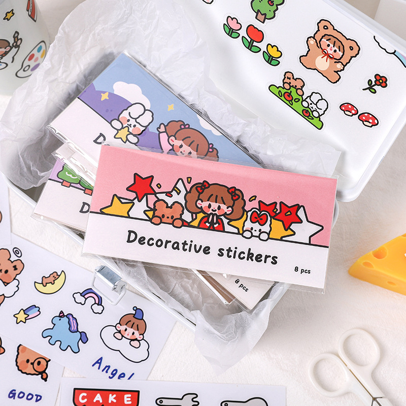 Cute Colorful Paper Cartoon Stickers for Personalized Decoration