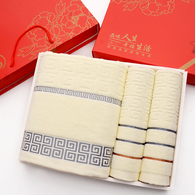 Fluffy Pure Cotton Greek Key Pattern Embossed Towel Sets for Fabulous Designs