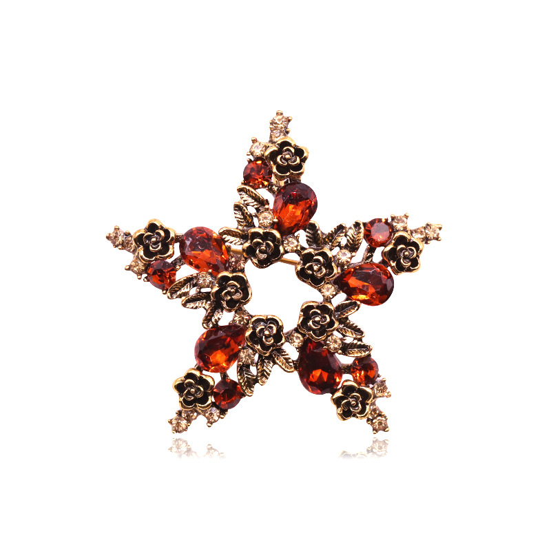 Floral Red Rhinestone Five Pointed Star Brooch for Creative Collar Design