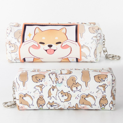 Cute Shiba Inu Zippered Pencil Case for Students