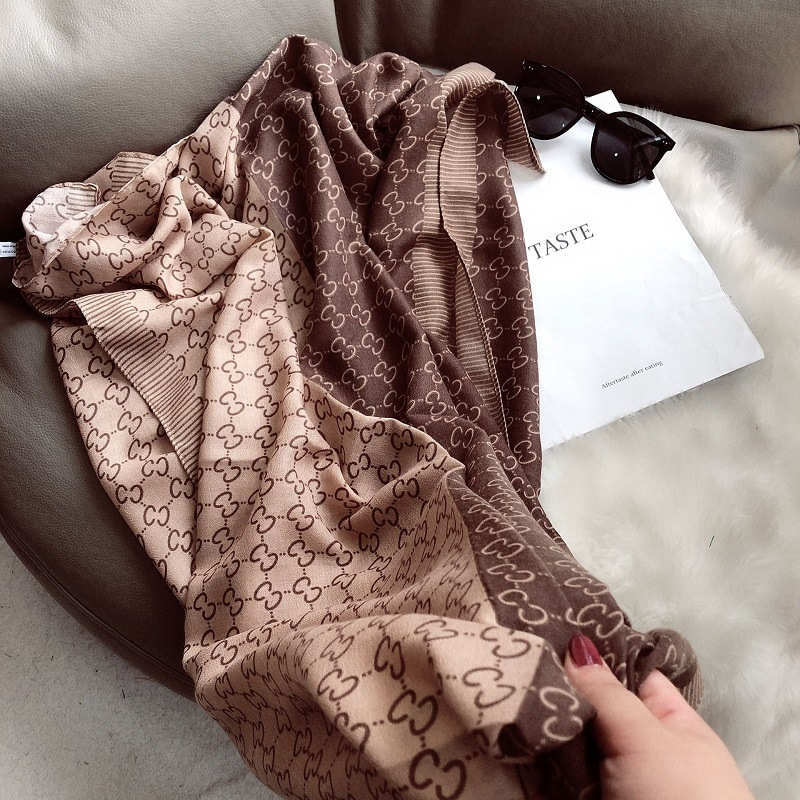 Dreamy Double C Print Warm Brown Scarf for Fancy Events
