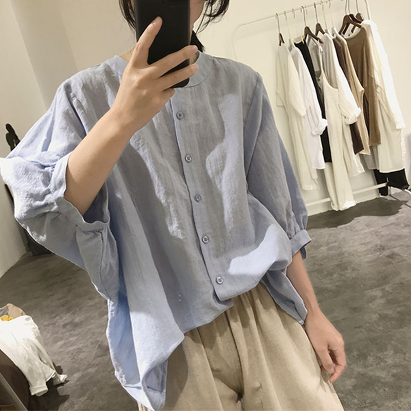 Sophisticated loose Fitting Linen Bishop Sleeves Button-up for Trendy Style